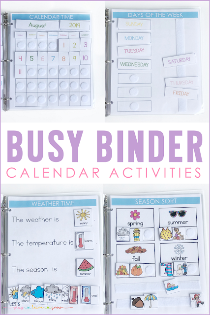Busy Binder Calendar Activities