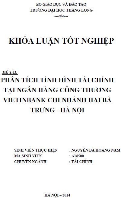 Phân tích tình hình tài chính tại Ngân hàng Công thương Vietinbank Chi nhánh Hai Bà Trưng - Hà Nội