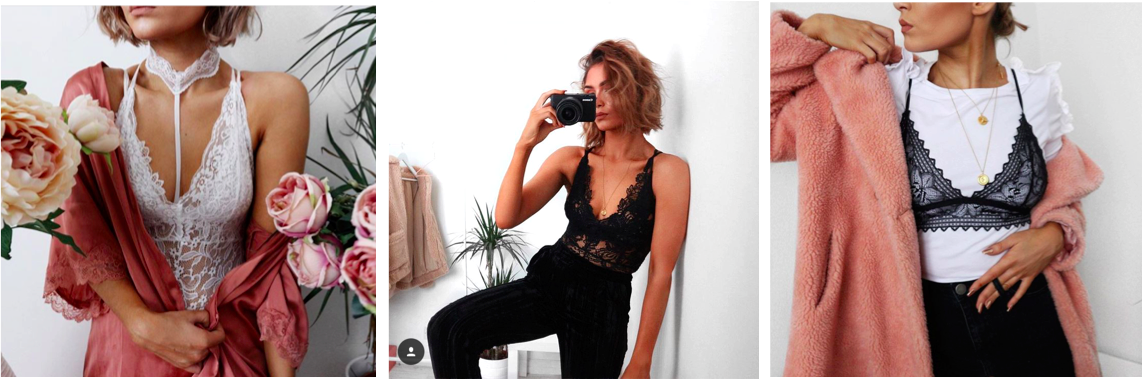 Alicia Roddy, Lingerie Influences Seen on Instagram, underwear as outerwear, fashion blogger