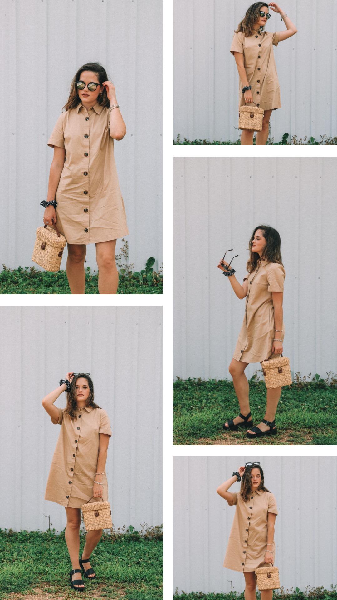 Fashion blogger Kathleen Harper's fall outfit idea with a khaki shirtdress.