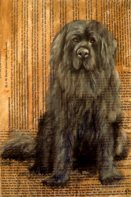 oil painting of Nana, the dog from Peter Pan