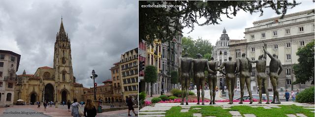 Viaje a Asturias - Oviedo: Catedral y uno de los conjuntos de estatuas de la ciudad