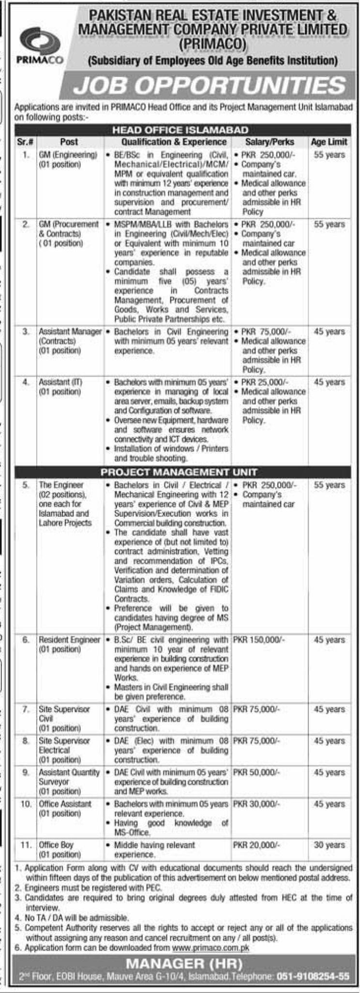 Punjab Industrial Estates Investment & Management Company Jobs 2021