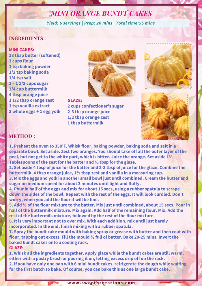MINI ORANGE BUNDT CAKES RECIPE