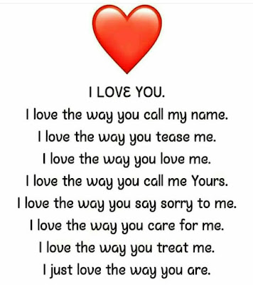 I LOVE YOU. I love the way you call my name. I love the way you tease me. I love the way you love me. I love the way you call me Yours. I love the way you say sorry to me. I love the way you care for me. I love the way you treat me. I just love the way you are.