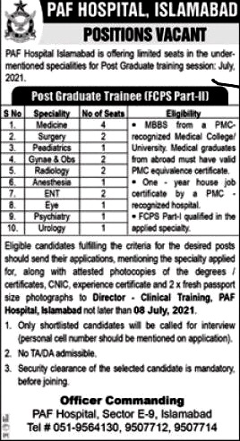 Latest Jobs in Pakistan Air Force PAF Hospital 2021