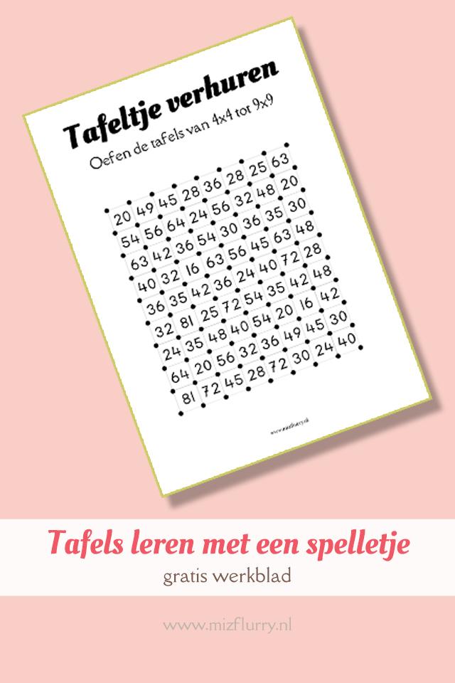 Tafels leren met een spelletje -gratis werkblad