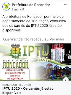 Pague seu IPTU, ajude no Município de Roncador!