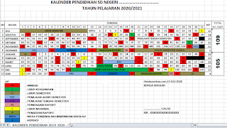 KALENDER PENDIDIKAN TAHUN PELAJARAN 2020/2021