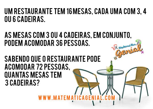 Desafio - Um restaurante tem 16 mesas, cada uma com 3,4 ou 6 cadeiras...