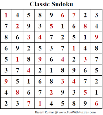 Answer of Classic Sudoku Puzzle (Fun With Sudoku #325)