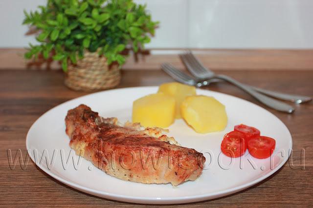 рецепт свиных антрекотов с чесноком в духовке