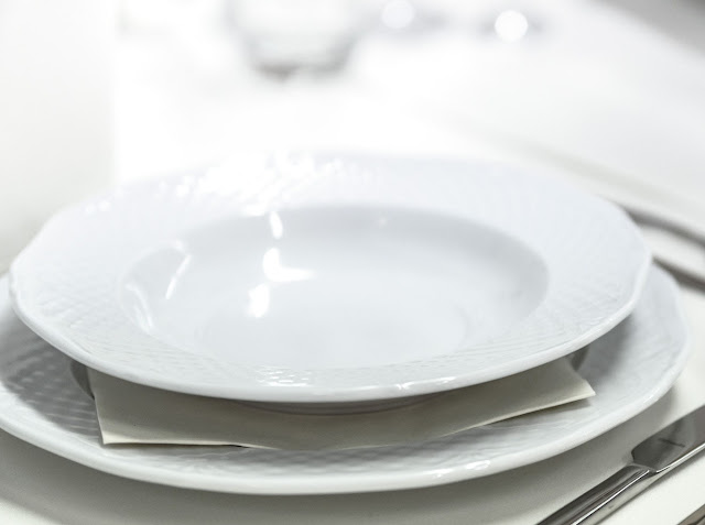 Porcelain plate on table