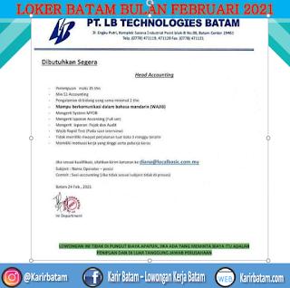 Lowongan Kerja PT. LB Technologies Batam