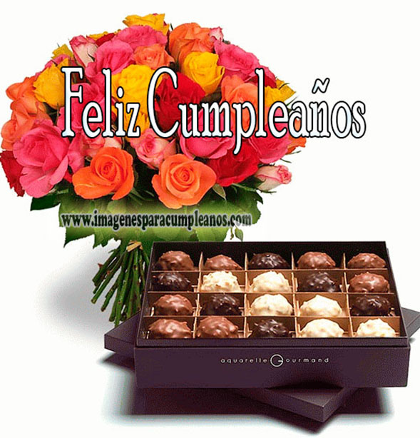 feliz cumpleaños bombones y flores