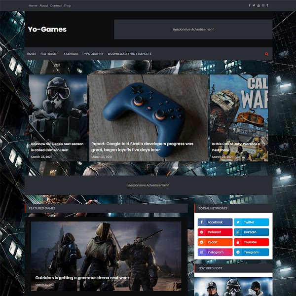 Yo-Games - News/Magazine & Games Responsive Blogger Template