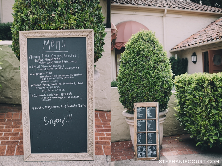 chic chalkboard menu for wedding reception