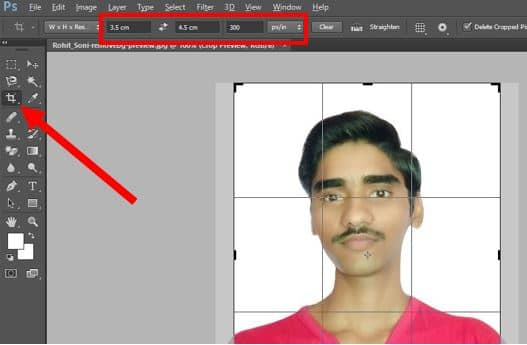 Crop image in photoshop