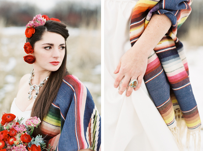 Photography: Orange Photographie / Styling & Flowers: Katalin Green / Hair & Makeup: Alexa Mae / Dress: Coren Moore / Hat & Serape: Vintage / Necklace & Ring: Mountainside Designs / Location: Bozeman, MT