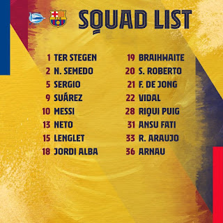 Confirmed Barcelona 16-man squad for Alaves clash announce, Arthur missing