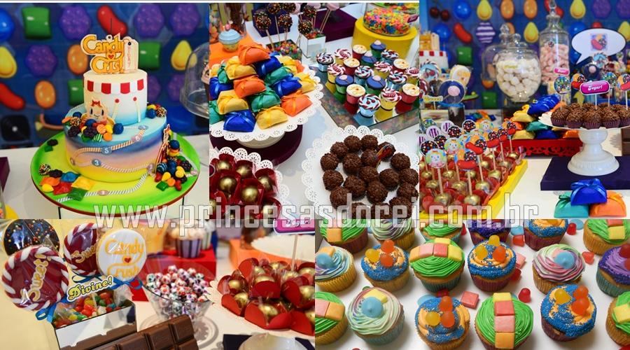 festa candy crush tema doces brigadeiros cupcake