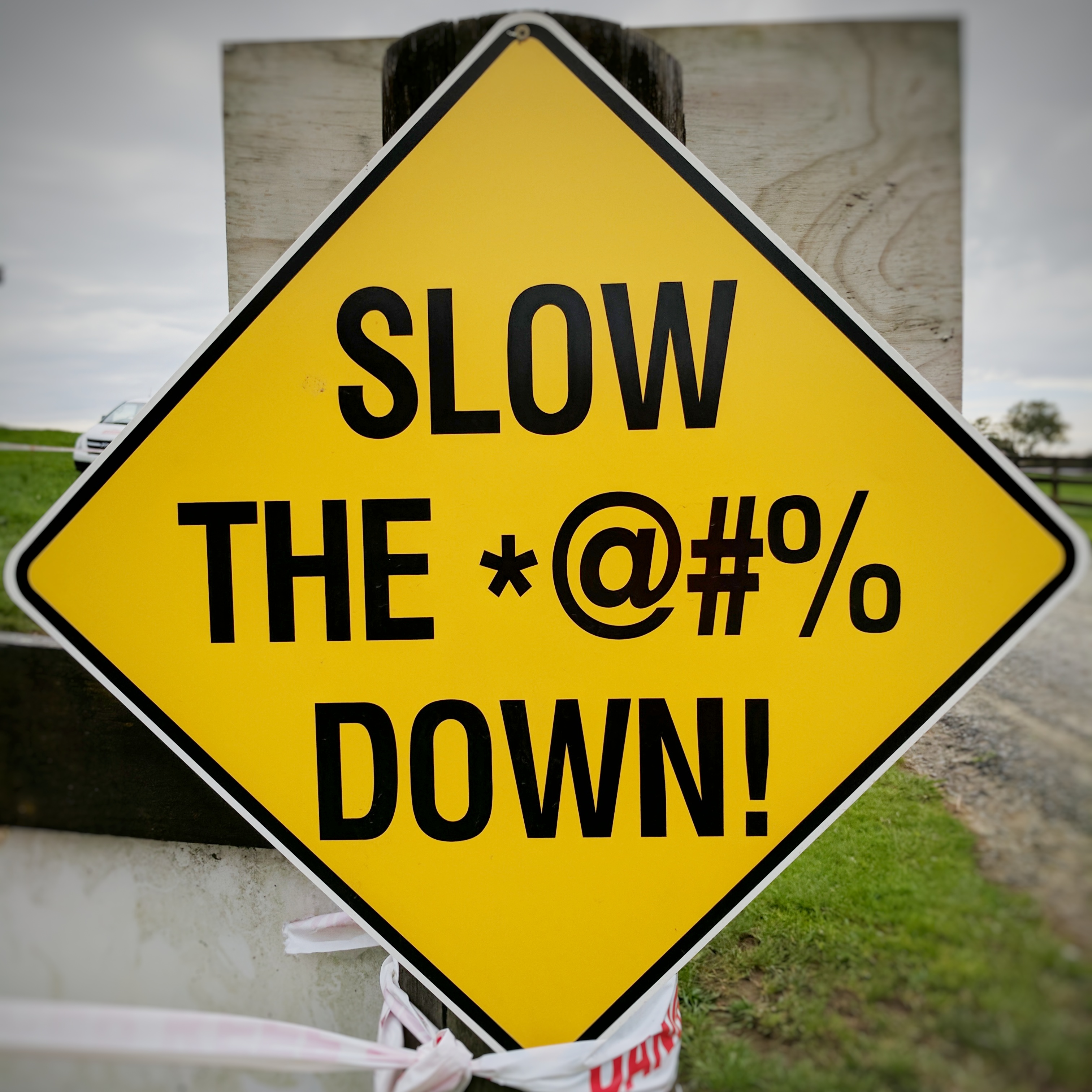 'Slow The *@#% Down' sign