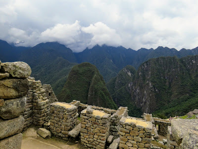Machu Picchu Pictures: Low hanging clouds over the Andes at Machu Picchu