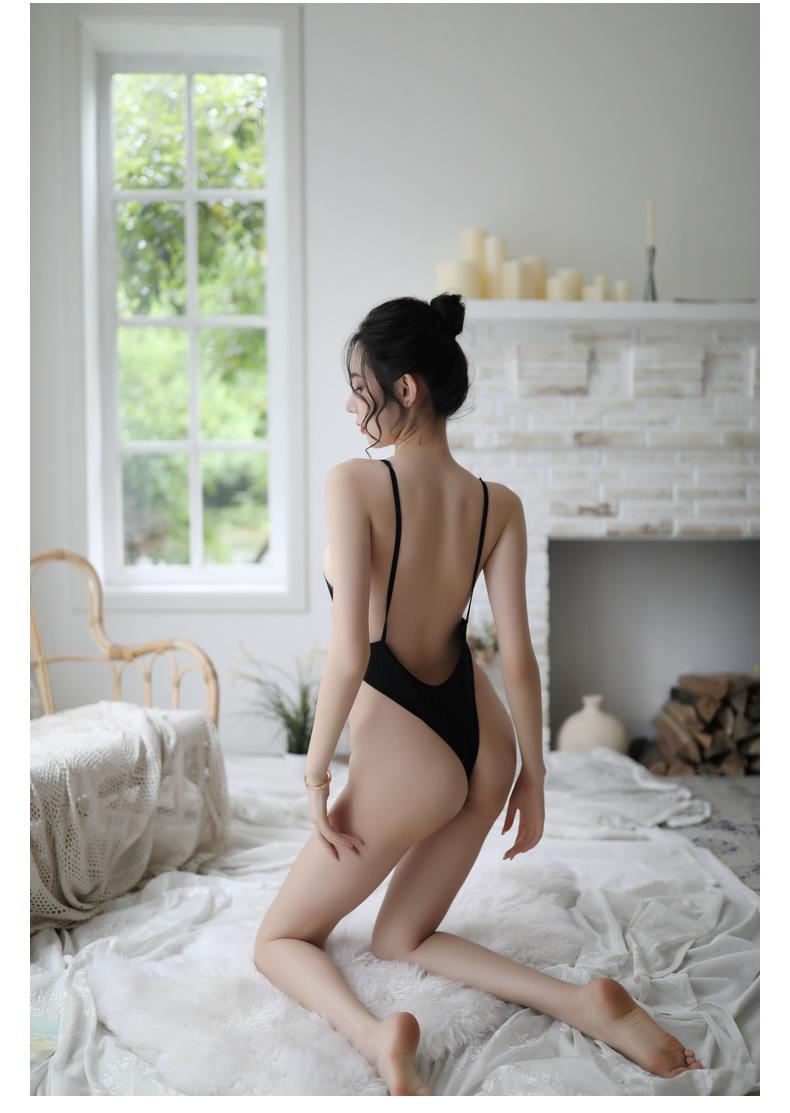 Váy ngủ thun trơn liền thân xẻ đáy sexy 3