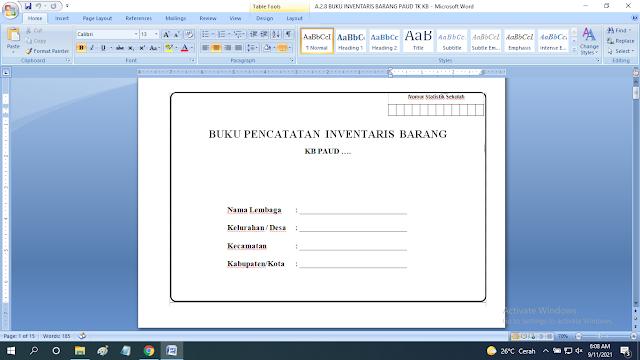 Download Contoh Buku Inventaris Barang / Perlengkapan Sekolah Paud TK KB RA