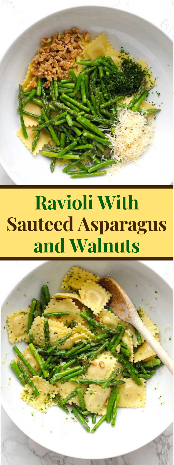 Ravioli With Sauteed Asparagus and Walnuts #dinner #vegetarian
