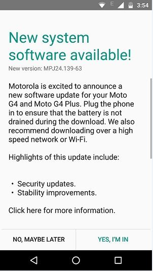 moto g4 plus july security patch update