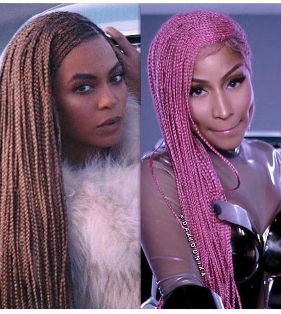 Battle of the coloured conrows-Beyonce vs Nicki Minaj