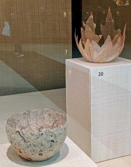 Two delicate pieces made with Japanese paper. Bowl (1990s) and Leaf bowl (2014) by Kay Sekimachi