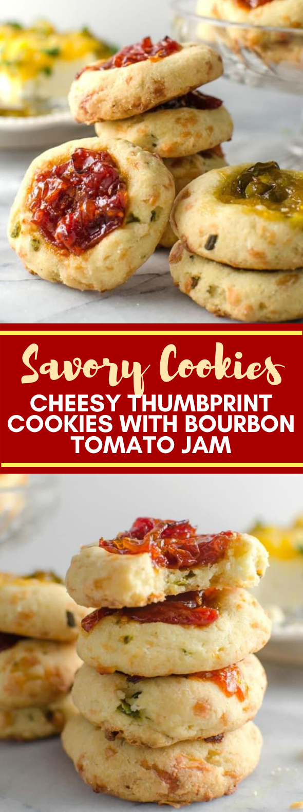 Cheesy Thumbprint Cookies with Bourbon Tomato Jam { Savory Cookies } #appetizers #vegetarian #jam #cookies #meals
