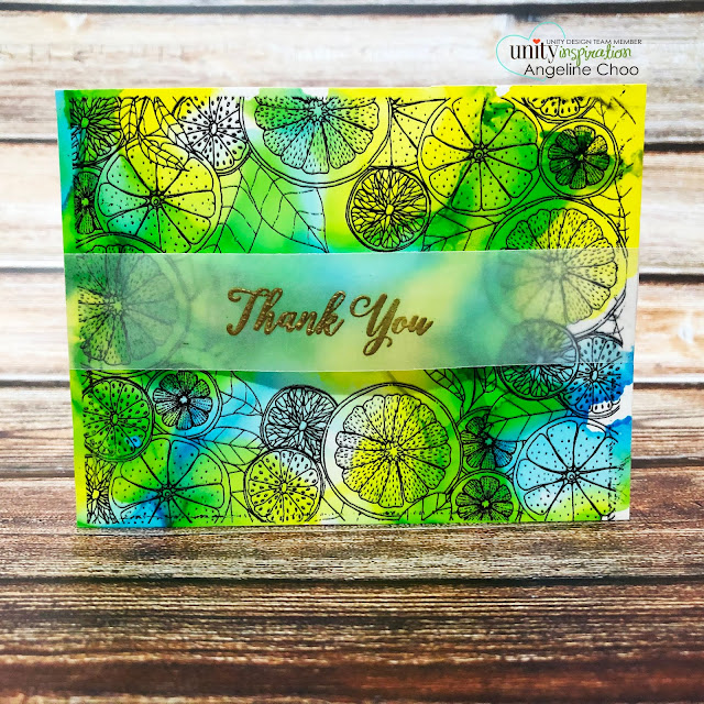 ScrappyScrappy: Happy June with Unity Stamp - Citrus Medley {border backgrounds} #scrappyscrappy #unitystampco #card #cardmaking #youtube #quicktipvideo #stamping #borderbackground #citrusmedley #alcoholinks #copicmarkerrefill #simonsaysstamp #yupopaper #goldembossing #vellumembossing #backgroundstamp