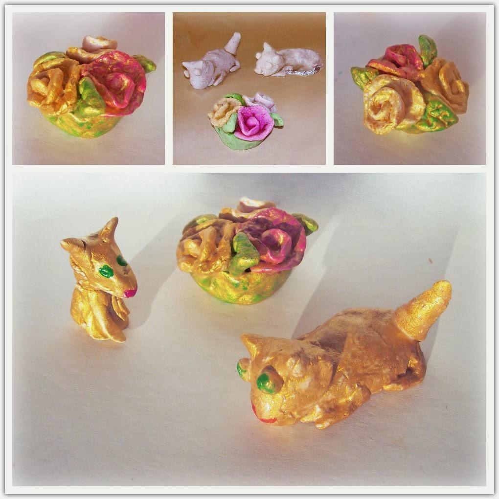 котики и корзина с цветами - розами из солёного теста