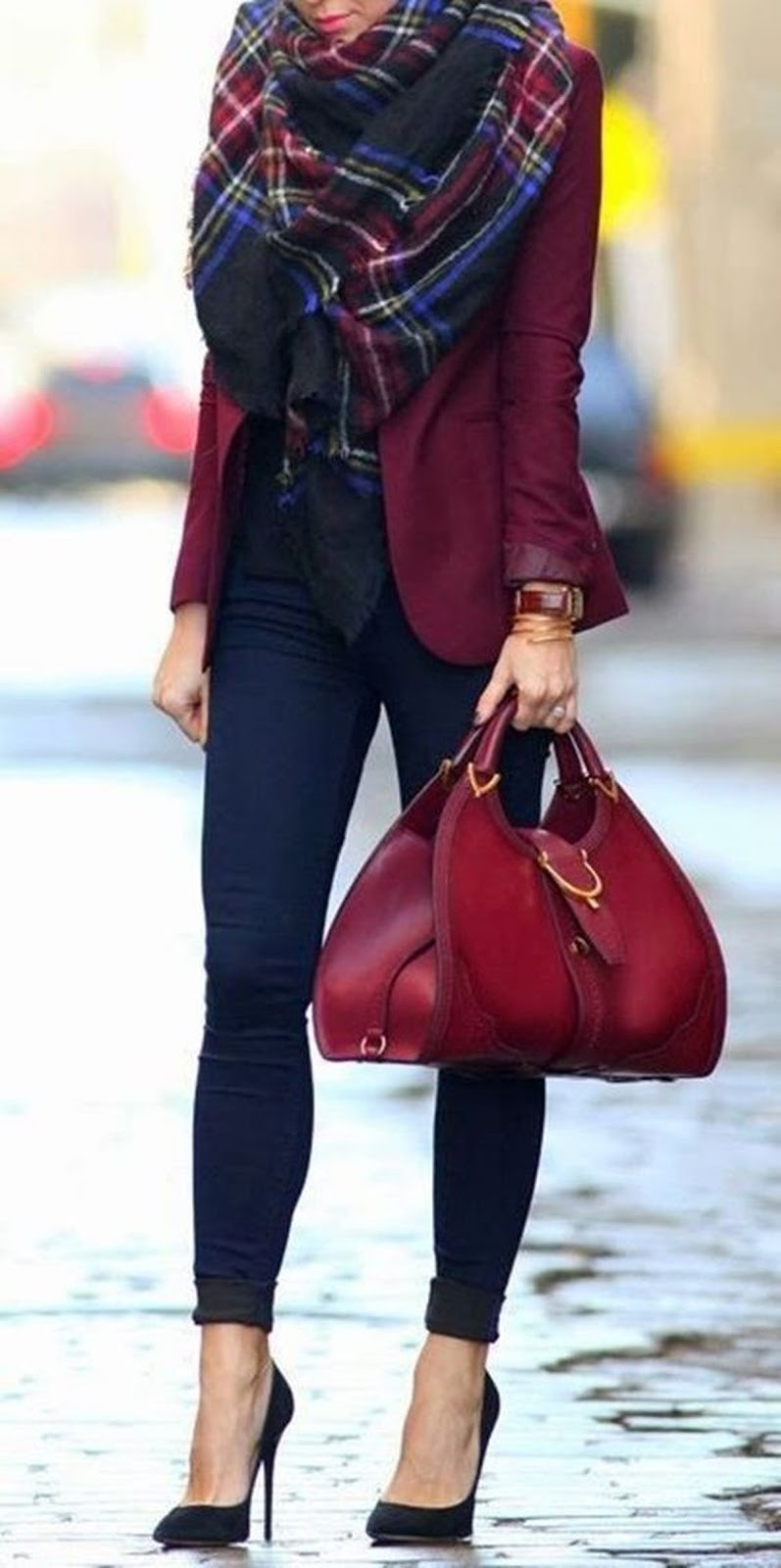 business outfit idea : plaid scarf + maroon blazer + bag + top + black pants + heels