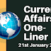 Current Affairs One-Liner: 21st January 2020
