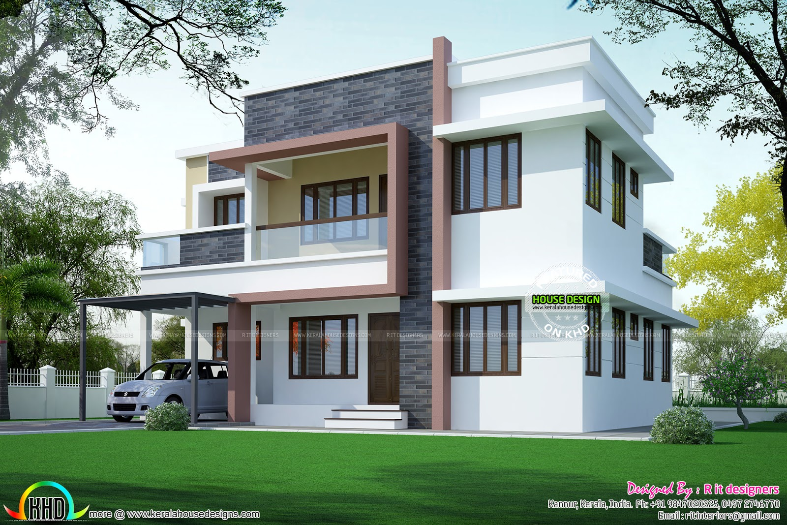 Simple home plan in modern style kerala home design and for Modern house design plans