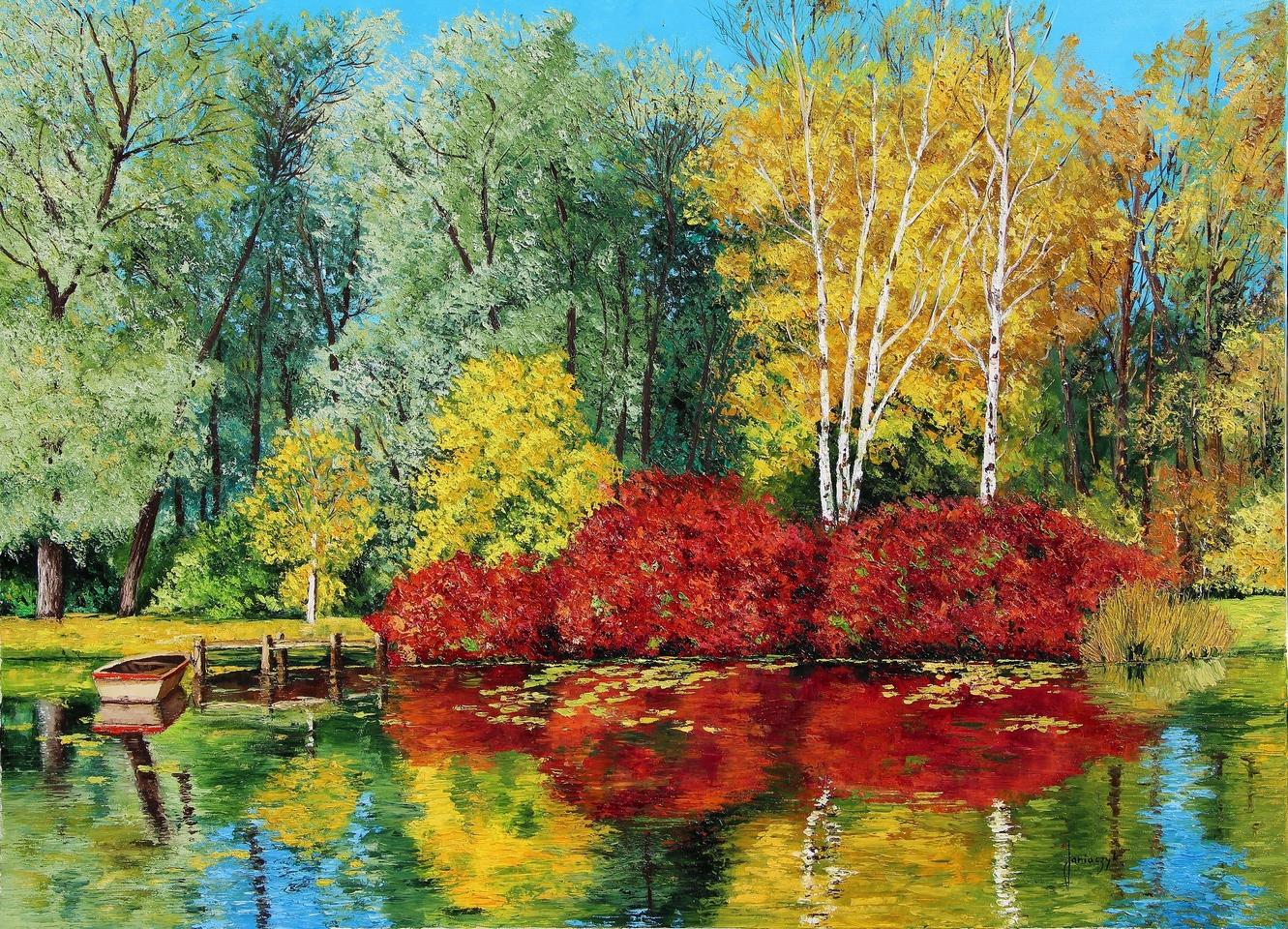 Lagoa no Outono - Cores alegres e vibrantes nas paisagens de Jean-Marc