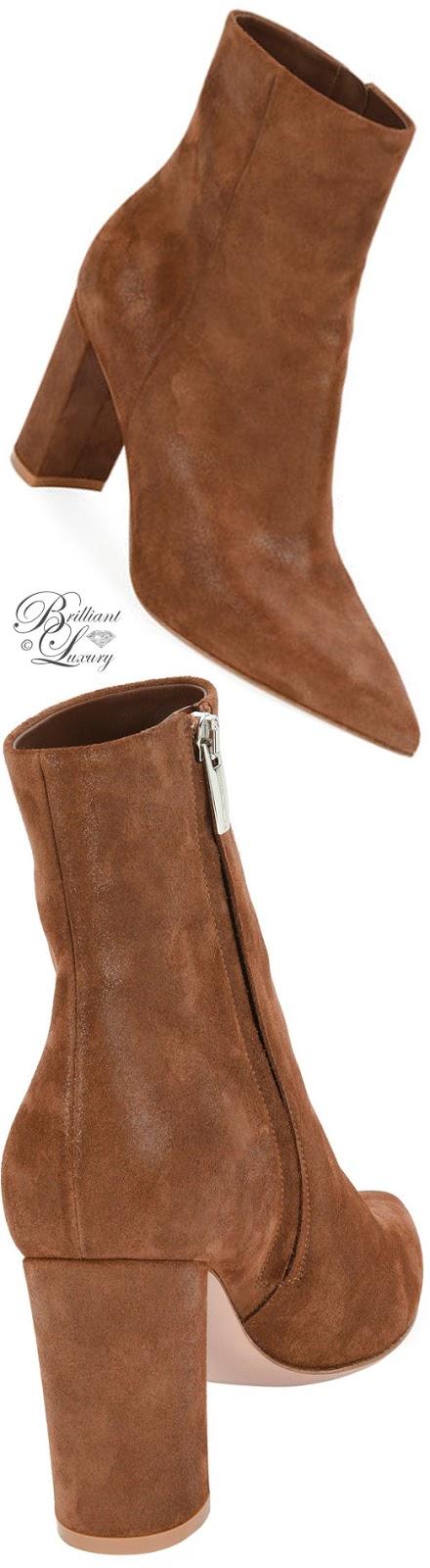 Brilliant Luxury ♦ Gianvito Rossi Pointy-Toe Block-Heel Bootie