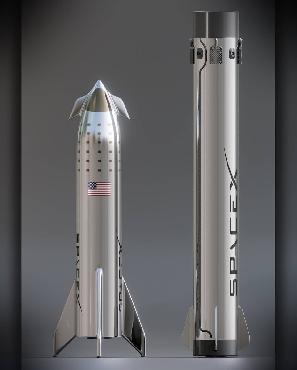 SpaceX Starship and Super Heavy model comparison by Kimi Talvitie