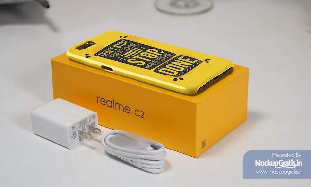 PSD Mockup Custom Case 3D Realme C2 Gratis