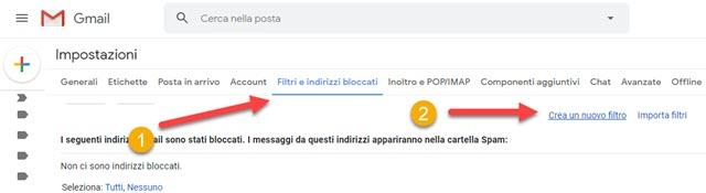 creare filtri con gmail