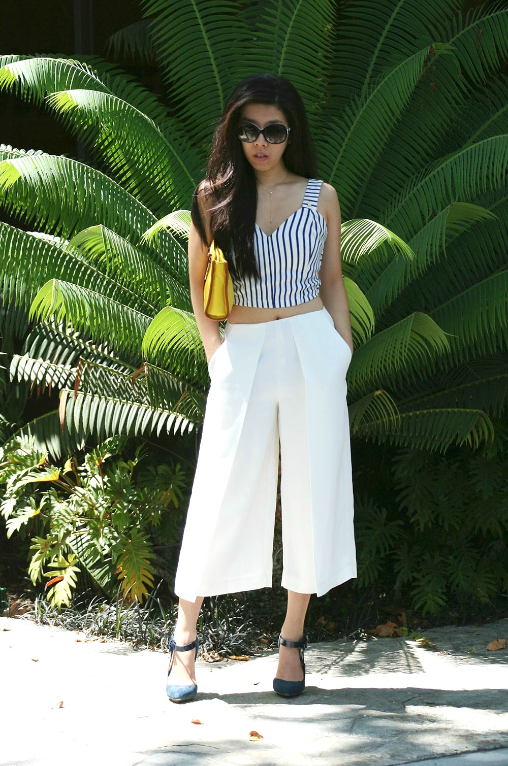Adrienne Nguyen_Fashion Blogger from California_SD Blogger_Summer Outfit_Blue and White Striped Crop Top with Zipper and Bow