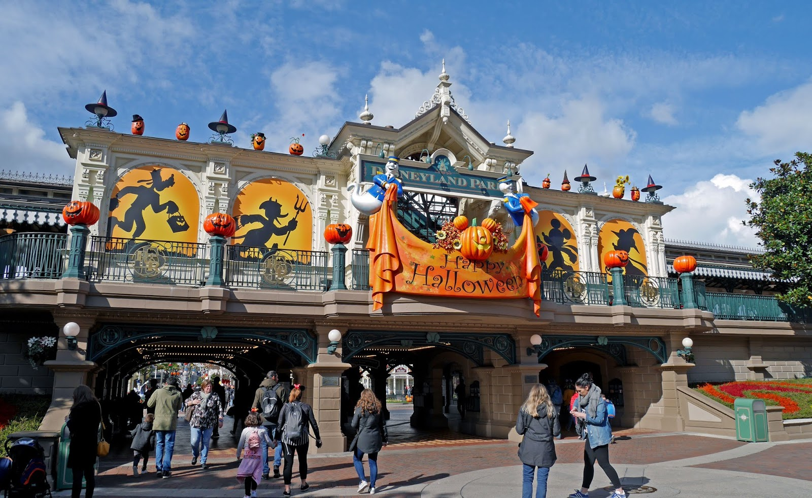 Halloween display above the Disneyland Park entrance, Disneyland Paris