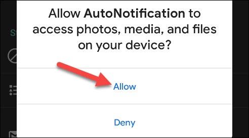 """اضغط على """"السماح"""" لمنح الإعلام التلقائي حق الوصول إلى بياناتك."""