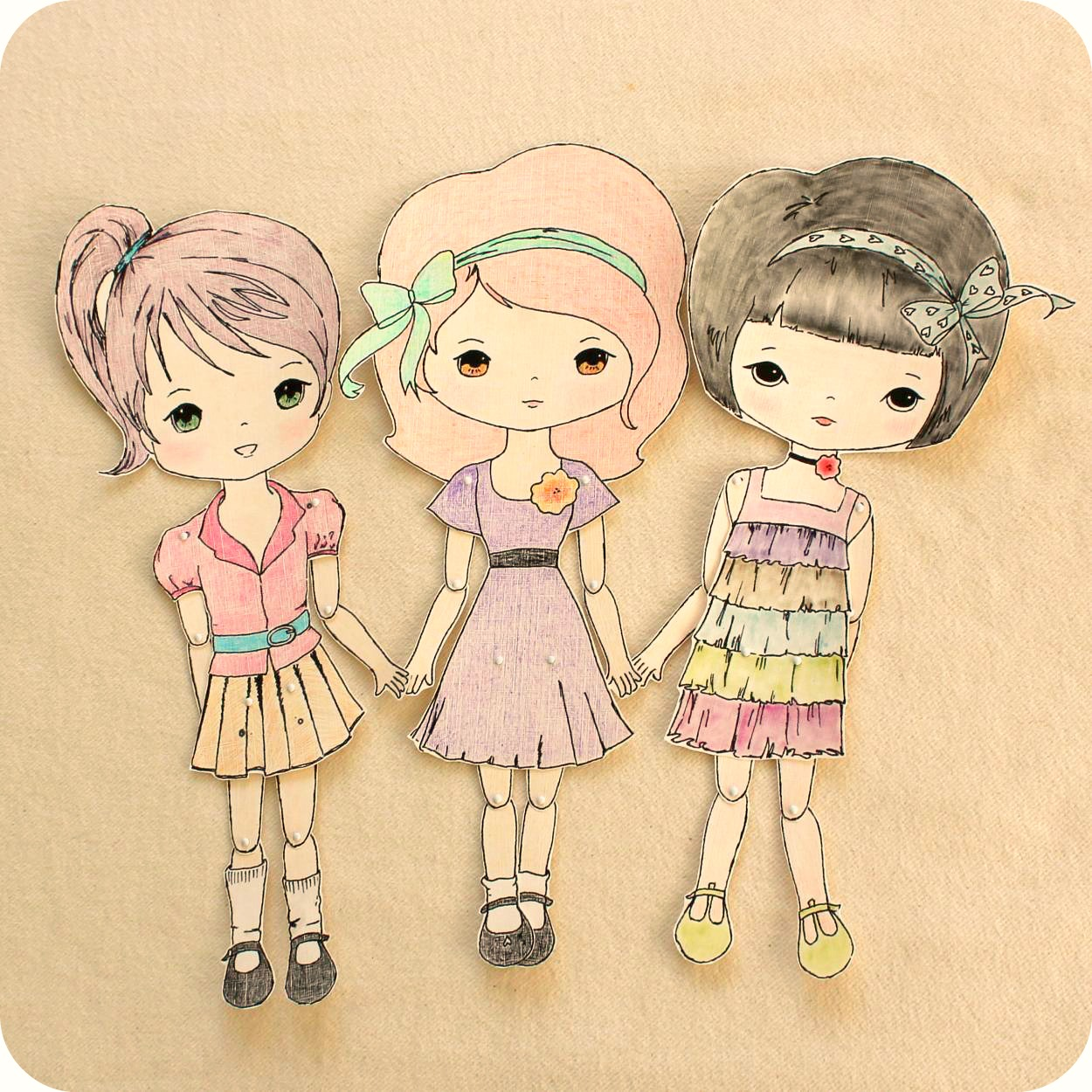 Gingermelon Dolls: Free Paper Doll Download and the Mini Moppets