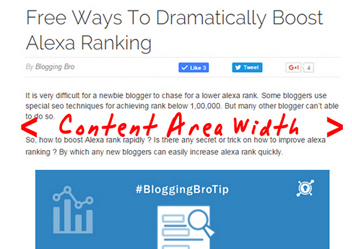 Your blog content area width