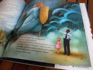 an illustration from Paloma Wants to Be Lady Freedom by Rachel Campos-Duffy. Illustration depicts Paloma, a young hispanic girl, and an african-american security guard who is gesturing to Lady Freedom, who is facing the ocean